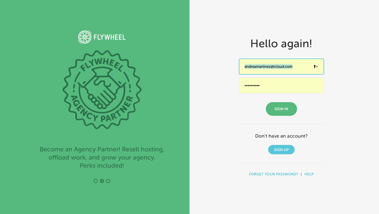 Login della pagina di gestione remota dei siti hostati su Flywheel