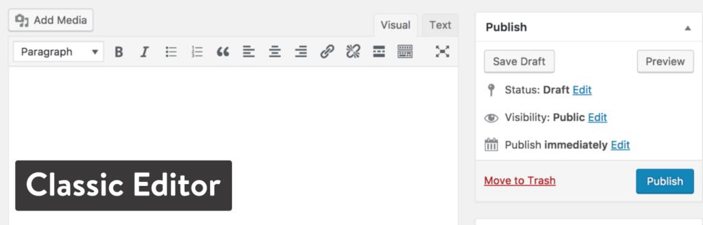 Prima soluzione - Classic editor