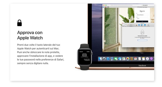 Accedi a macOS 10.15 Catalina con Apple Watch